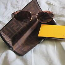 Vtg Fendi Logo Ff Bronze Sun Glasses Frames  Case Italy Retro Mod Photo