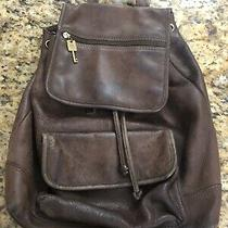 Vtg Fossil 1954 Classic Dark Brown Pebble Drawstring Backpack Bucket Bag Purse Photo