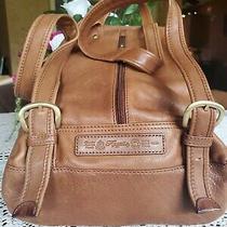 Vtg Fossil 1954 Classic Tan Brown Pebble Drawstring Backpack Bucket Bag Purse Photo