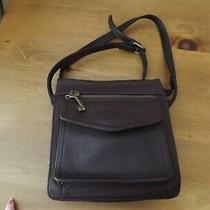 Vtg Fossil 1954 Traveler Purse Handbag Crossbody Organizer Brown Peddled Leather Photo