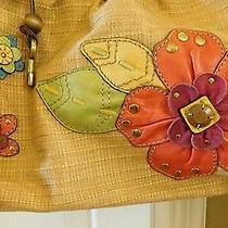 Vtg Fossil Bag Boho Canvas/ Leather Flowers  Wood Handle Key Fob Very Rare Euc Photo