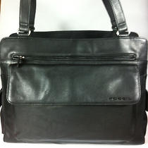 Vtg Fossil Black Large Pebbled Leather & Nylon Briefcase Laptop Tote  Photo