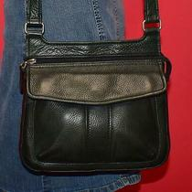 Vtg Fossil Black Leather Cross-Body Organizer Shoulder Purse Travel Wallet Bag Photo