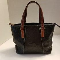 Vtg Fossil Black Leather Handbag Purse Satchel Brown Handles Brass Hardware Photo