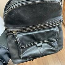 Vtg Fossil Black Leather Small Backpack Zb 8975 Photo