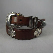 Vtg Fossil Brown Leather Tapered Silver Tone Cross Conchos Western Belt Sz S Photo