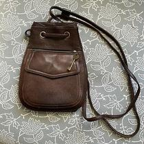 Vtg Fossil Classic Dark Brown Drawstring Backpack Bag Purse Photo