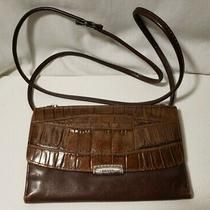 Vtg Fossil Crossbody Bag Brown Leather Trifold Wallet Check Book Holder Clutch  Photo
