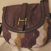 Vtg Fossil Fifty Four Brown Multi Patch Work Leather Cross Body Bag(as Is) Rare Photo
