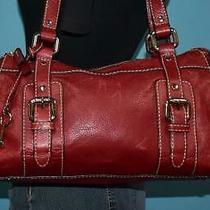 Vtg Fossil Gabby Red Leather Shopper Shoulder Belted Zip Top Carryall Purse Bag Photo