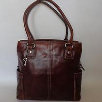Vtg Fossil Large Leather Tote Bag Cognac Photo