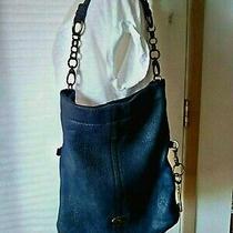 Vtg Fossil Leather Shoulder Bag Purse Navy 15