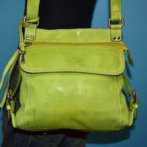 Vtg Fossil Lime Green Leather Castille Cross-Body Messenger Organizer Purse Bag Photo