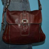 Vtg Fossil Mahogany Brown Gabby Leather Shoulder Crossbody Messenger Purse Bag Photo