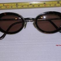 Vtg Fossil Monique Sunglasses Small Oval Tortoise Brown Gun Metal Plastic Frame Photo