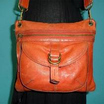 Vtg Fossil Sasha Orange Small-Med Cross Body Messenger Shoulder Tote Purse Bag Photo