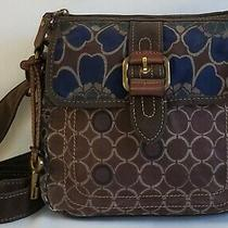Vtg Fossil Sm Brown & Blue Floral Canvas Crossbody/shoulder Bag/purse W/ Key Fob Photo