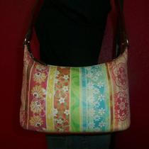Vtg Fossil Small Leather Hobo Summer Floral Multicolor Bag Shoulder Tote Purse Photo