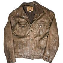 Vtg Gap Blue Jeans World Standard Distressed Brown Leather Jacket Mens Size L Photo