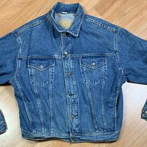 Vtg Gap Denim Jean Trucker Rancher Jacket Men's Sz Xl Blue Distressed Rare Photo