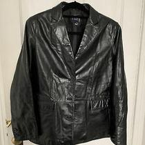 Vtg Gap Womens Black Genuine Leather Car Coat Jacket Blazer Size L/xl Photo