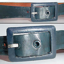Vtg Garey Navy Blue Genuine Lamb Skin Leather Wide Tapered Designer Belt 30 M Photo