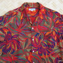 Vtg Georges Marciano for Guess Mens Sm/med Retro Mod Rayon Disco Hawaiian Shirt Photo