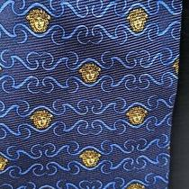 Vtg Gianni Versace Navy Blue Medusa Logo Silk Necktie Tie Photo