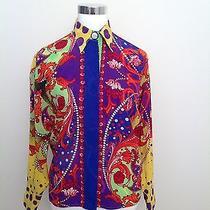 Vtg Gianni Versace Yellow Blue Multi Color Barocco Printed Silk Shirt 38 Women's Photo