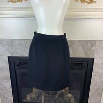 Vtg Giorgio Armani Le Collezioni Womens 4 Black Silk Blend Straight Short Skirt Photo