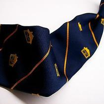 Vtg Givenchy Gem House & Lamp Blue/gold/red Stripe   Mens Silk Necketie 10-1 Photo