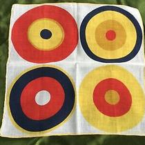 Vtg Givenchy Geometric Hand Rolled Cotton 14  Square Scarf  Photo