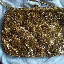 Vtg Gold Tone Glass Bead Flower Sequins Snake Chain Handle Purse Bag Fancy Photo