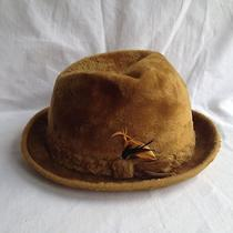 Vtg Golden Coach by Dobbs Gold Wool / Faux Fur Fedora Hat Men's Size 7 1/4 Photo