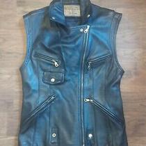 Vtg Guess Black Leather Vest Moto Biker Motorcycle Punk Jacket Size M Sz 38 Photo