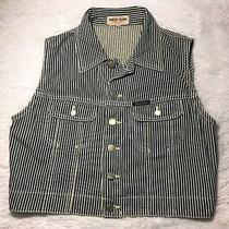 Vtg Guess Jeans 90s Button Front Up Striped Blue White Denim Jean Vest L Photo
