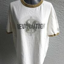 Vtg Guess Jeans Revolution  Money Sign 90s Ringer White T-Shirt Size 2xl Usa Photo