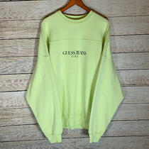 Vtg Guess Jeans Usa Classic Script Sweatshirt Rare Color Mint Green Mens Size L Photo