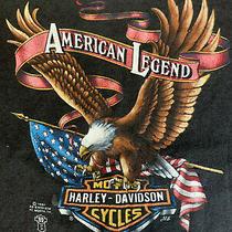Vtg Harley Davidson 3d Emblem T Shirt L 1987 Vgc Front and Back Print Photo