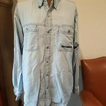 Vtg Harley Davidson Men's Size Large Blue Denim Embroidered Long Sleeve Shirt L Photo