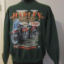 Vtgharley Davidson Sweatshirt-v Twin- Green-Hipstir Grunge-Super Soft-Lg- Photo