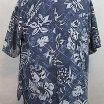 Vtg Havana Jack's Cafe Ss Silk Hawaiian Camp Shirt (Xl) Blue W/floral Print  Hj4 Photo