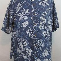 Vtg Havana Jack's Cafe Ss Silk Hawaiian Camp Shirt (Xl) Blue W/floral Print  Hj4 Photo