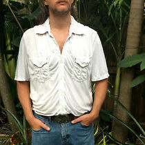 Vtg Hipster Shirt White Blousy Collar Short Sleeve Button Down Up Pockets Cotton Photo