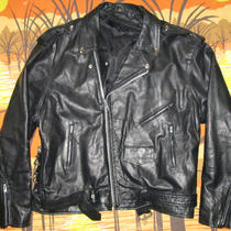 Vtg Hudson Black Leather Motorcycle Jacket Biker Coat Size 60 Xxxl 3xl Xxxxl 4xl Photo