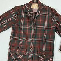 Vtg Hudsons Bay Company Blazer Jacket Wool Red Green Christmas Plaid Size 14 Photo