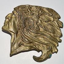 Vtg Indian Chief Head Belt Buckle Brass Native American Profile Headdress Photo