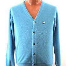Vtg Izod Lacoste Blue Cardigan Sweater  Men's Large L - 70s 80s Union Made Photo