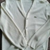 Vtg Izod Lacoste Cardigan Sweater White Large Photo