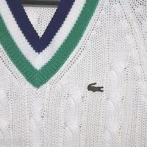 Vtg Izod Lacoste v Neck Cable Knit Golf Country Club  70 80's Sweater M Perfect Photo